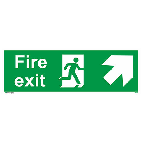 Fire Exit Arrow Up Right Sign - Health and Safety Signs