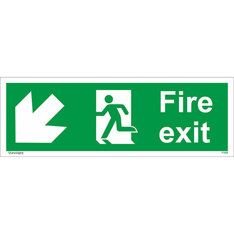 Fire Exit Arrow Down Left Sign - Safety Signs & Stickers | Borehamwood Signs
