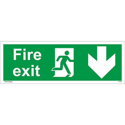 Fire Exit Arrow Down Sign - Safety Signs & Stickers | Borehamwood Signs