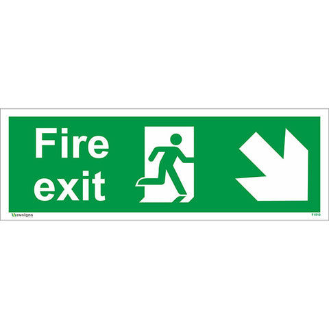 Fire Exit Arrow Down Right Sign - Health and Safety Signs