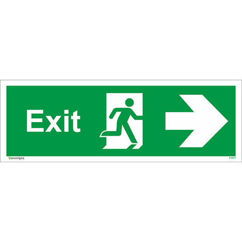 Exit Arrow Running Man Right Sign - Health and Safety Signs