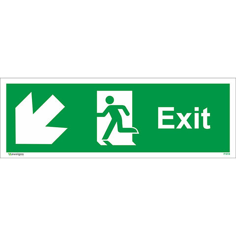Exit Arrow Running Man Down Left Sign - Health and Safety Signs