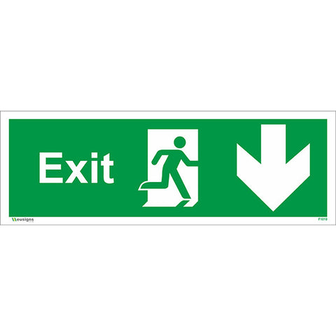 Exit Arrow Running Man Down Sign - Health and Safety Signs