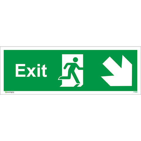 Exit Arrow Running Man Down Right Sign - Health and Safety Signs