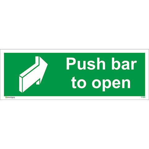 Push Bar To Open Sign - Health and Safety Signs