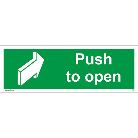Push To Open Sign - Health and Safety Signs