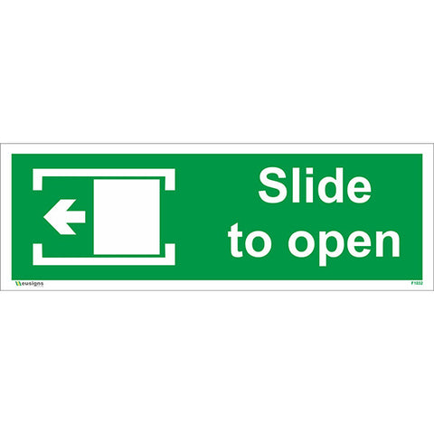 Slide To Open Left Sign - Safety Signs & Stickers | Borehamwood Signs