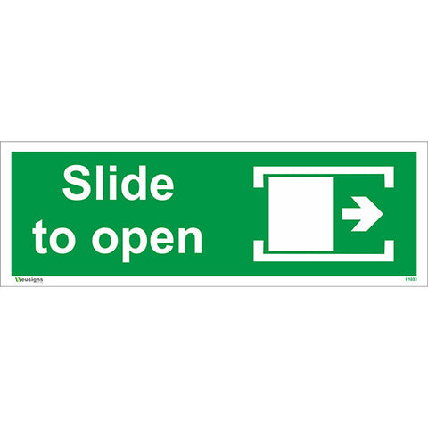 Slide To Open Right Sign - Safety Signs & Stickers | Borehamwood Signs
