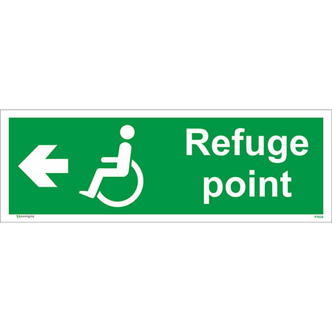 Refuge Point Arrow Left Sign - Heath and Safety Signs, Warning Signs, Emergency Signs, Fire Exit,Stop Signs, Borehamwood Signs