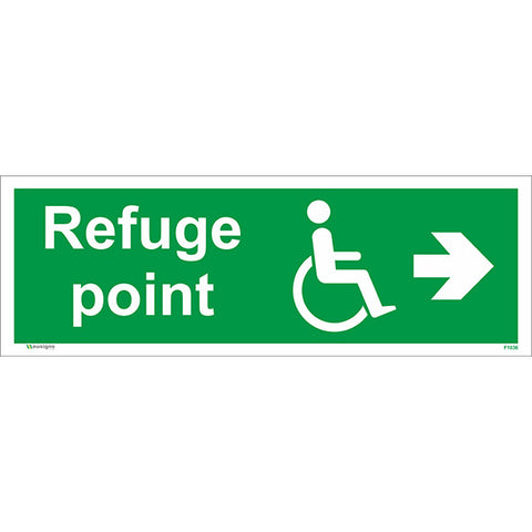 Refuge Point Arrow Right Sign - Safety Signs & Stickers | Borehamwood Signs