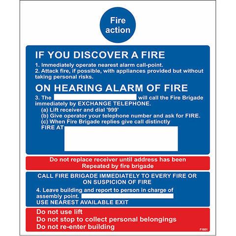 Fire Action Sign - Heath and Safety Signs, Warning Signs, Emergency Signs, Fire Exit,Stop Signs, Borehamwood Signs