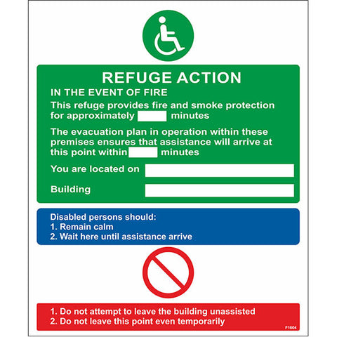 Refuge Action Sign - Safety Signs & Stickers | Borehamwood Signs