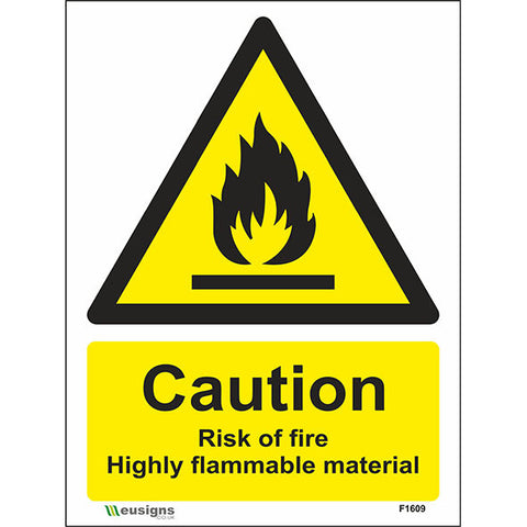Caution Risk Of Fire Highly Flammable Material Sign - Safety Signs & Stickers | Borehamwood Signs