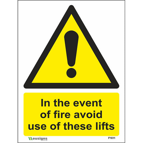 In The Event Of Fire Avoid Use Of These Lifts Sign - Safety Signs & Stickers | Borehamwood Signs