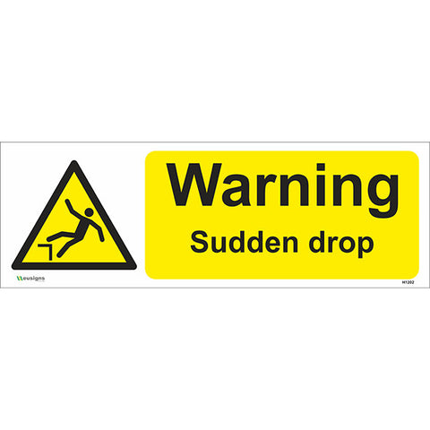 Warning Sudden Drop Sign - Safety Signs & Stickers | Borehamwood Signs