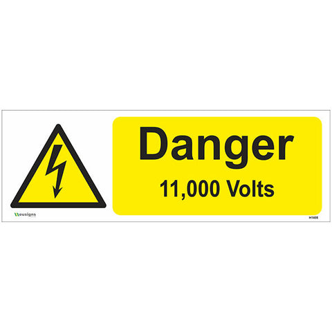 Danger 11,000 Volts Sign - Safety Signs & Stickers | Borehamwood Signs