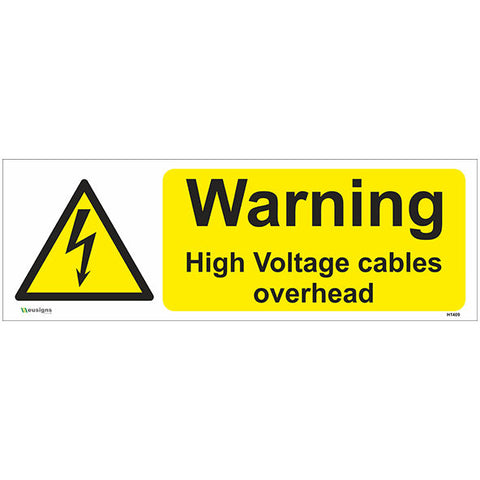 Warning High Voltage Cables Overhead Sign - Safety Signs & Stickers | Borehamwood Signs