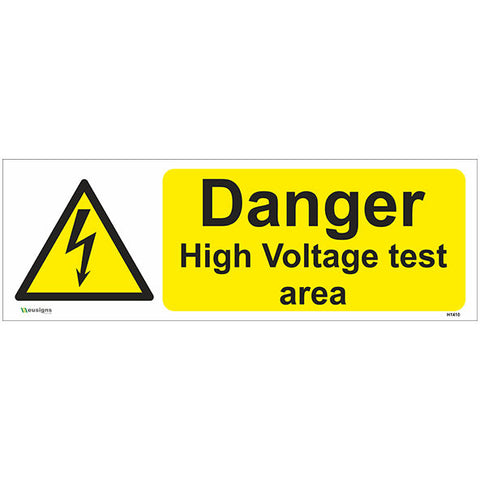 Danger High Voltage Test Area Sign - Safety Signs & Stickers | Borehamwood Signs