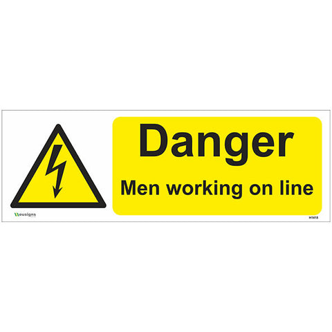 Danger Men Working On Line Sign - Safety Signs & Stickers | Borehamwood Signs