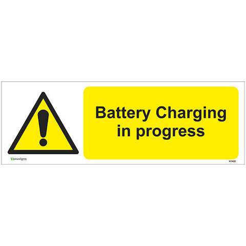 Battery Charging In Progress Sign - Heath and Safety Signs|Warning Signs|Emergency Signs|Fire Exit|Hazard Signs|Safety|Stickers|Borehamwood Signs