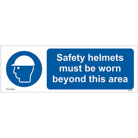 Safety Helmets Must Be Worn Beyond This Area Sign - Safety Signs & Stickers | Borehamwood Signs