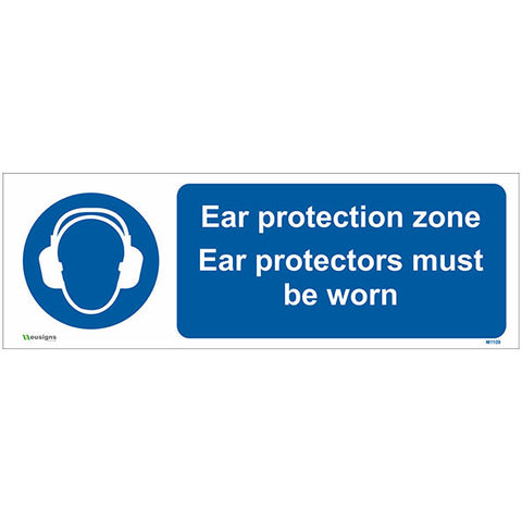 Ear Protection Zone Ear Protectors Must Be Worn Sign - Safety Signs & Stickers | Borehamwood Signs