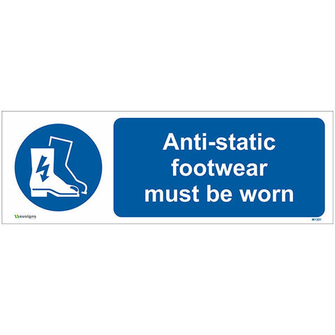 Anti-static Footwear Must Be Worn Sign - Safety Signs & Stickers | Borehamwood Signs