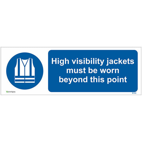 High Visibility Jackets Must Be Worn Beyond This Point Sign - Safety Signs & Stickers | Borehamwood Signs