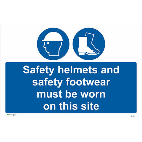 Safety Helmets And Safety Footwear Must Be Worn On This Site Sign - Safety Signs & Stickers | Borehamwood Signs