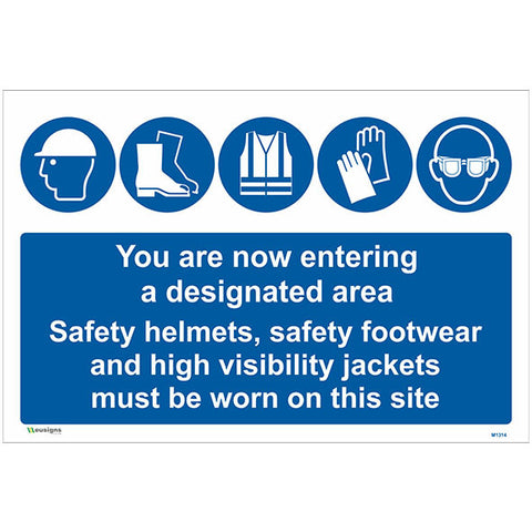 You are now entering  a designated area Sign - Safety Signs & Stickers | Borehamwood Signs