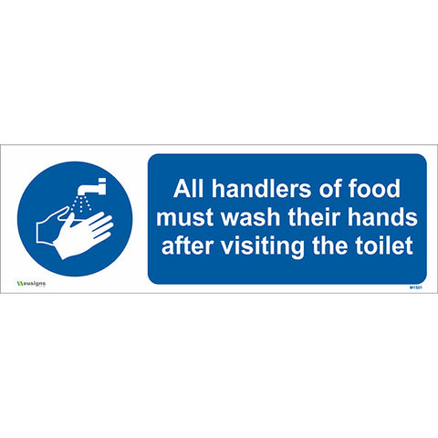 All Handlers of Food Must Wash Their Hands After Visiting the Toilet Sign - Safety Signs & Stickers | Borehamwood Signs