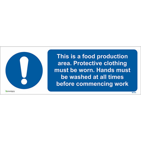 This is a Food Production Area. Protective Clothing must be Worn. Hands must be Washed Combined Sign - Safety Signs & Stickers | Borehamwood Signs