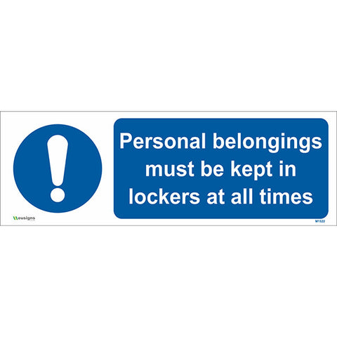 Personal Belongings Must be Kept in Lockers at All Times Sign - Safety Signs & Stickers | Borehamwood Signs
