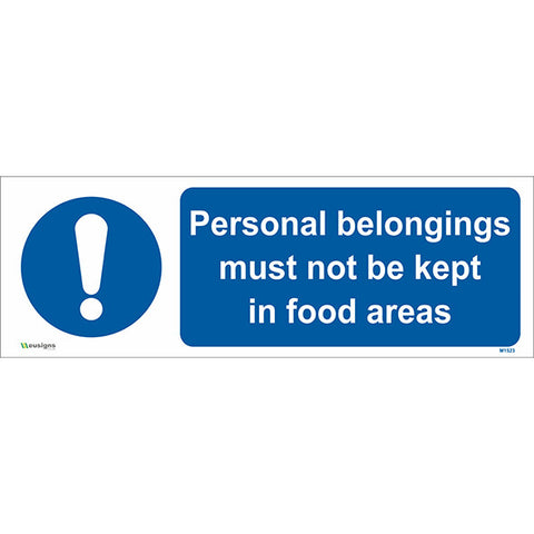 Personal Belongings Must not be Kept in Food Areas Sign - Safety Signs & Stickers | Borehamwood Signs