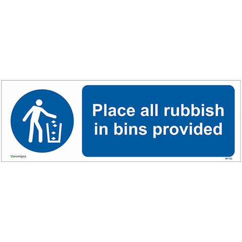 Place All Rubbish In Bins Provided Sign - Safety Signs & Stickers | Borehamwood Signs