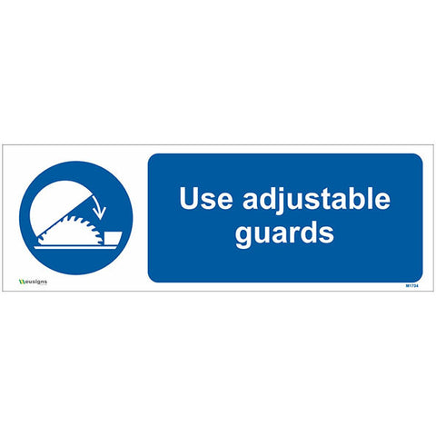 Use Adjustable Guards Sign - Safety Signs & Stickers | Borehamwood Signs