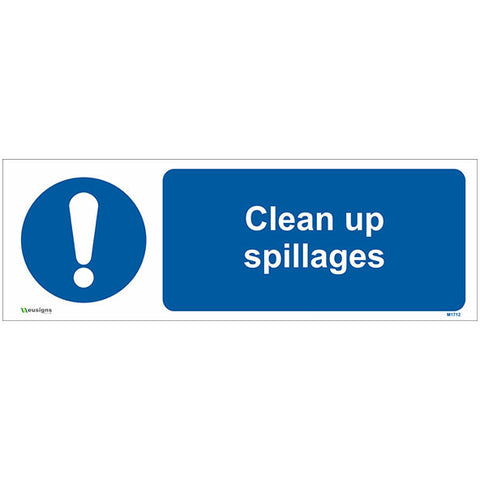 Clean Up Spillages Sign - Safety Signs & Stickers | Borehamwood Signs