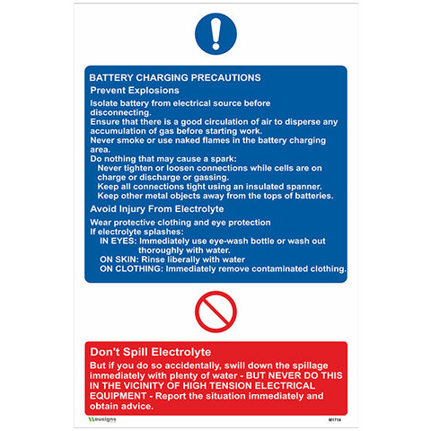Battery Charging Precautions Sign - Safety Signs & Stickers | Borehamwood Signs