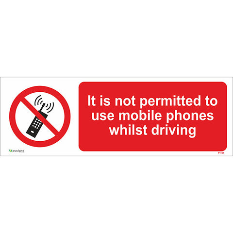 It Is Not Permitted To Use Mobile Phones Whilst Driving Sign - Safety Signs & Stickers | Borehamwood Signs