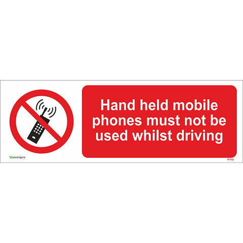 Hand Held Mobile Phones Must Not Be Used Whilst Driving Sign - Safety Signs & Stickers | Borehamwood Signs
