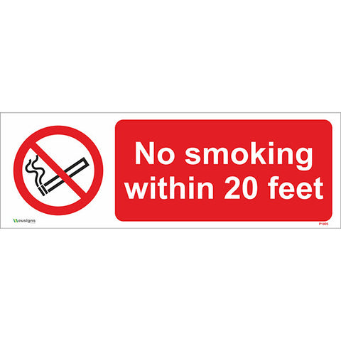 No Smoking within 20 Feet Sign - Safety Signs & Stickers | Borehamwood Signs