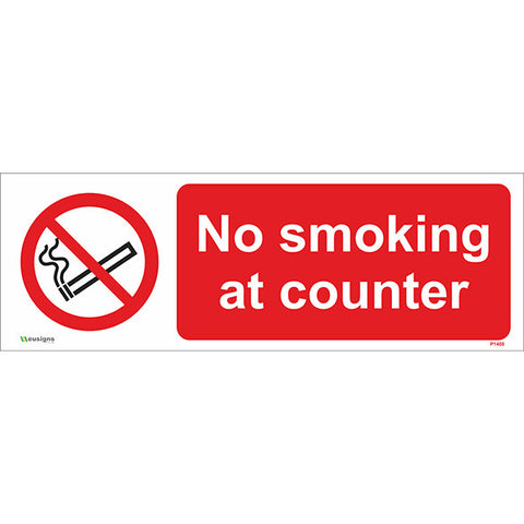 No Smoking At Counter Sign - Safety Signs & Stickers | Borehamwood Signs