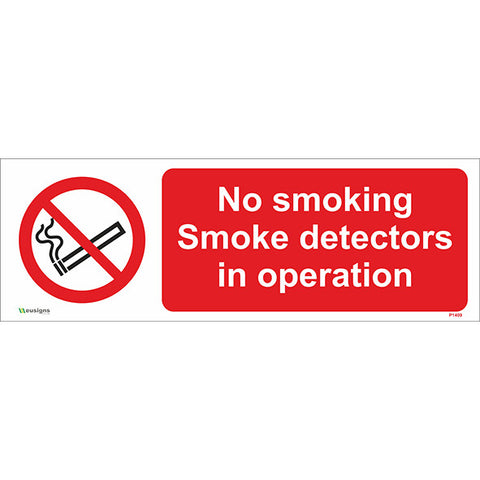 No Smoking Smoke Detectors In Operation Sign - Safety Signs & Stickers | Borehamwood Signs