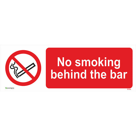 No Smoking Behind The Bar Sign - Safety Signs & Stickers | Borehamwood Signs