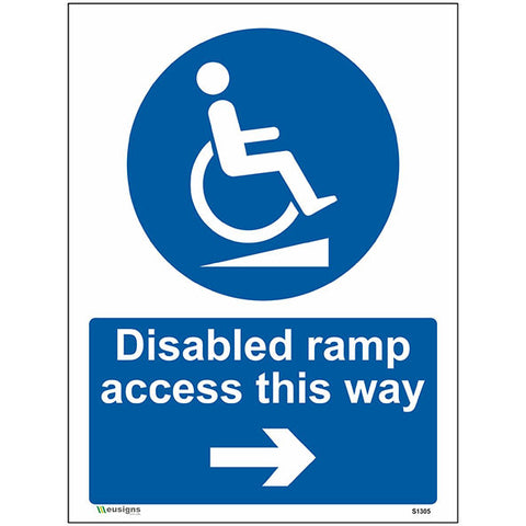 Disabled Ramp Access This Way Right Arrow Sign - Heath and Safety Signs, Warning Signs, Emergency Signs, Fire Exit,Stop Signs, Borehamwood Signs