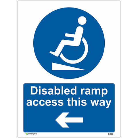 Disabled Ramp Access This Way Left Arrow Sign - Heath and Safety Signs, Warning Signs, Emergency Signs, Fire Exit,Stop Signs, Borehamwood Signs