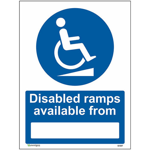 Disabled Ramps Available From Sign - Heath and Safety Signs, Warning Signs, Emergency Signs, Fire Exit,Stop Signs, Borehamwood Signs