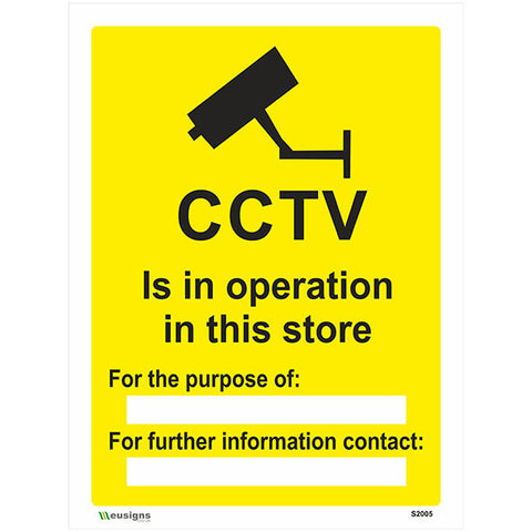 CCTV Is In Operation In This Store Sign - Safety Signs & Stickers | Borehamwood Signs