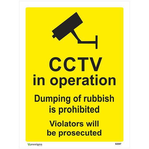 CCTV In Operation Dumping Of Rubbish Is Prohibited Sign - Health and Safety Signs