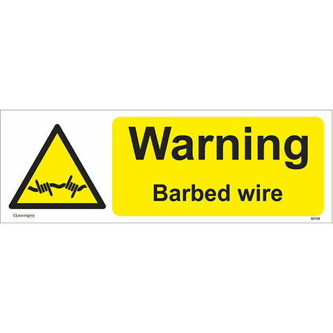 Warning Barbed  Wire Sign - Safety Signs & Stickers | Borehamwood Signs
